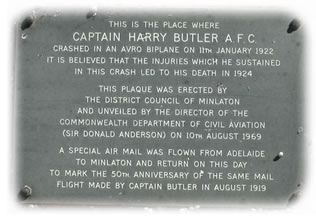 Plaque located at crash site on Yorketown Road, Minlaton